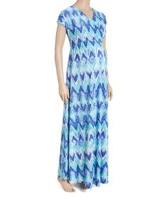 Look at this #zulilyfind! Blue Ikat Surplice Maternity Maxi Dress #zulilyfinds