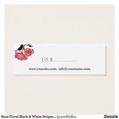 Rose Floral Black & White Stripes - Price Tag