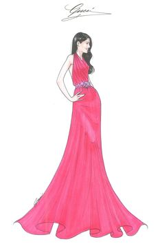 Gucci releases a sketch of the coral silk chiffon halter gown worn by Freida Pinto to the premiere of The Great Gatsby on the opening night of the Cannes Film Festival.