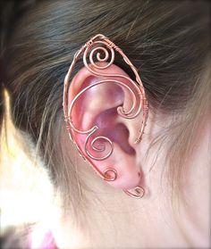 Copper Pair of Elf Ear Cuffs, Very Fun Design Ear Wraps, Renaissance, Elven, Hobbit, Elf, Fantasy Ear Wraps