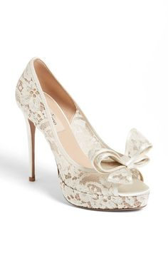 Valentino 'Lace Couture Bow' Open Toe Pump | Nordstrom