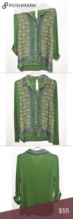 Bailey 44 Satiricon Top in Green Absolutely beautiful 'Satiricon' button down top by Bailey 44. Cotton/silk blend. Roll tabbed sleeves. Great condition. Softest material I have ever felt. I am obsessed with this shirt! Size is small and runs true. Bailey 44 Tops