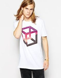 Image 1 ofASOS Longline T-Shirt With Impossible Shape Print And Skater Fit: