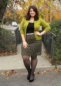 Great look! Tweed skirt, basic tank, colorful cardigan. #plussize #fashion