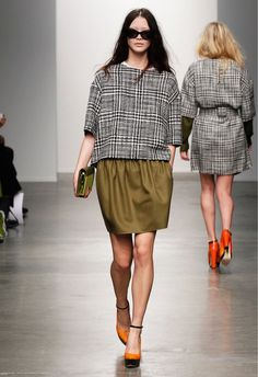 Houndstooth Pattern Top, with #Military Green Skirt, &Vibrant OrangePlatform Pumps in #Punk Style.  MilitaryPunkFashion Trend forFall Winter 2013 | Karen Walker#Fall2013 #trends #trendy