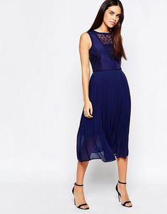 Warehouse   Warehouse Premium Lace Insert Midi Dress