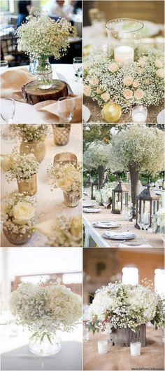 chic rustic baby's breath wedding centerpiece ideas #weddingflowers #weddingbouquets #weddingdecor #weddingideas #baby'sbreath