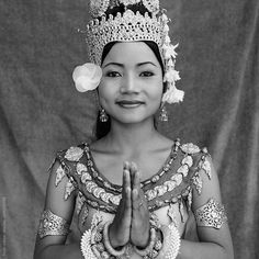 Portrait of traditional Cambodian dancer.Cambodia by Hugh Sitton - Stocksy United Angkor Wat, Cambodia, Queens, Dancer, Hair Accessories, Portraits, The Unit, Stock Photos, Traditional