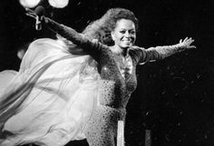 Diana Ross at her concert in the rain in Central Park, 1983