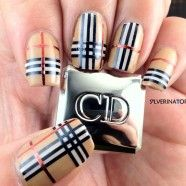 Burberry Inspired Nails Using Striping Tape