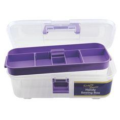 The Krafty Savers Handy Sewing Box will become a great additional to your sewing essentials. Sewing Essentials, Sewing Box, Haberdashery, Craft Kits, Storage Containers, Organization, Purple, Organising, Dividers
