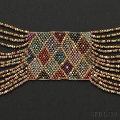 Jugendstil Beadwork Necklace, Wiener Werkstätte, Attributed to Amalie Szeps | Sale Number 2641B, Lot Number 145 | Skinner Auctioneers