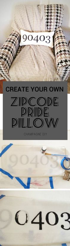 Create your own zip code pride pillow to show a love for your city! This is a super simple DIY! Easy Diy, Simple Diy, Super Simple, Realtor Gifts, Diy Pillows, Boss Lady, Fun Crafts, Create Your Own, Champagne