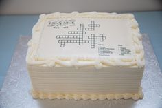 Interactive Groom's cake with a crossword puzzle that guests were able to solve on a separate sheet handed out