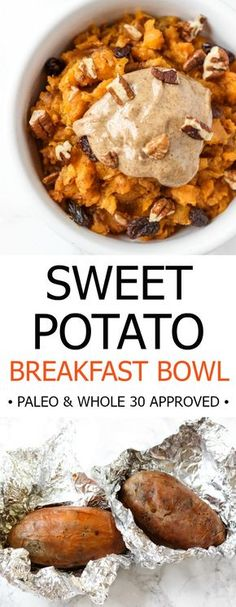 sweet potato breakfast bowl is an easy, make-ahead healthy breakfast that reminds me of sweet potato casserole! // healthy-This sweet potato breakfast bowl is an easy, make-ahead healthy breakfast that reminds me of sweet potato casserole! Clean Eating Breakfast, Breakfast Bowls, Healthy Breakfast Recipes, Clean Eating Recipes, Healthy Snacks, Vegetarian Recipes, Healthy Eating, Cooking Recipes, Eating Clean