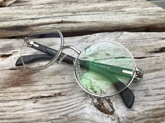 c334f1bee25 Items similar to Round Silver Eyeglasses Genuine Black Wood Temples