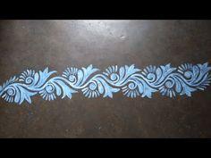 Very beautiful and long alpona design Free Hand Rangoli Design, Small Rangoli Design, Rangoli Designs With Dots, Beautiful Rangoli Designs, Mandala Design, Latest Rangoli Designs Images, Rangoli Designs Latest, Rangoli Designs Diwali, Rangoli Borders