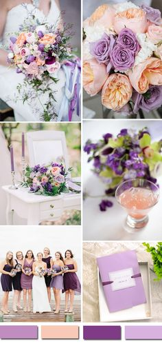 purple and peach wedding color inspiration and lavendar wedding invitations
