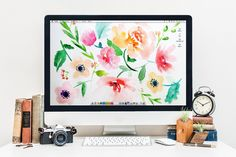 Desktop Wallpaper for Computer or Zoom Colorful Watercolor | Etsy Watercolor Flower Background, Flower Background Wallpaper, Flower Backgrounds, Floral Watercolor, Watercolor Desktop Wallpaper, Cute Desktop Wallpaper, Trendy Wallpaper, Desktop Wallpapers, Computer Screen Wallpaper
