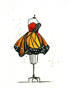 Watercolor Fashion Illustraton Monarch by JessicaIllustration