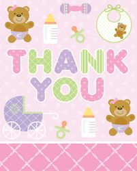 Pink Teddy Bear Thank You Cards
