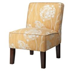 Armless Upholstered Slipper Chair - Butterscotch Floral {good price on clearance}