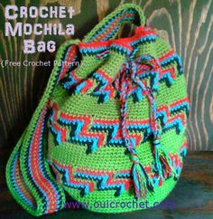 Colorful Mochila Bag Crochet Pattern   Love how colorful this crochet bag is! You can store everything you need for a day at the beach in this bag.