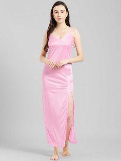 Women Nighty  (Pink) Womens Nighties, Dehati Girl Photo, Night Dress For Women, Purple Satin, Pretty Lingerie, Prom Dresses, Formal Dresses, Fashion Outfits, Womens Fashion