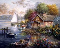 Peaceful Mooring by Nicky Boehme is a high quality piece of canvas artwork. The finished size of this piece is X and it has a depth There is a UV protective coating over the entire image, and hangs easily with standard drywall screw. Landscape Art, Landscape Paintings, Illustration Art, Illustrations, Z Arts, Thomas Kinkade, Beautiful Paintings, Love Art, Painting Inspiration