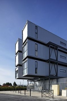 Re-cycling shipping containers and turning them into dorms! Love this! #sustainable #architecture