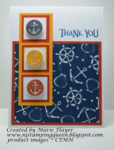 card by Marie Flayer using CTMH Tommy paper for Color My Heart Color Dare #43 Cranberry, Honey and Outdoor Denim