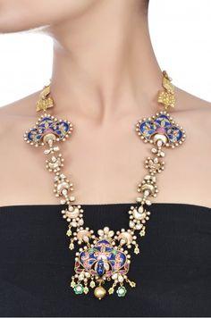 Silver Peacock Enamel & Crystal Necklace
