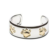 Cuff Bracelet with Paw Prints Sterling Silver and Gold Horse Jewelry, Snake Jewelry, Animal Jewelry, Black Leather Bracelet, Dog Necklace, Sterling Silver Bracelets, Jewelry Collection, 18k Gold, Paw Prints