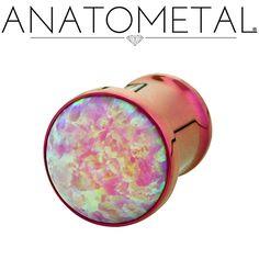 0ga Single Stone Eyelet in ASTM F-136 titanium, anodized fuchsia with synthetic Opal #8 gem