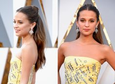 Alicia Vikander Turns the Half-Up Topknot Into a New Red Carpet Classic at the 2016 Oscars