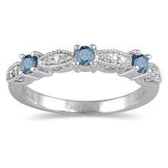 Round blue and white diamond wedding ring 10-karat white gold jewelryhttp://www.overstock.com/Jewelry-Watches/10k-White-Gold-Womens-1-3ct-TDW-Blue-Diamond-Wedding-Ring/5296254/product.html?CID=214117 $360.99