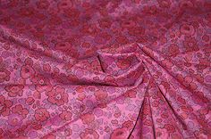 £7.99/m Roses-Pansies-Cotton-Lawn-Print-Dress-Fabric-Material-Light-Cerise