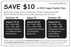 August DISCOUNTS http://www.kathleenboldt.com/august-psychic-fair-discounts/