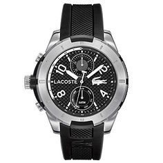 Men's Wrist Watches - Lacoste Mens 2010759 Tonga SilverTone Watch with Black Band * For more information, visit image link.