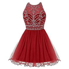 Amazon.com: TideClothes ALAGIRLS Short Beaded Prom Dress Tulle Applique Homecoming Dress Royal Blue US2: Clothing