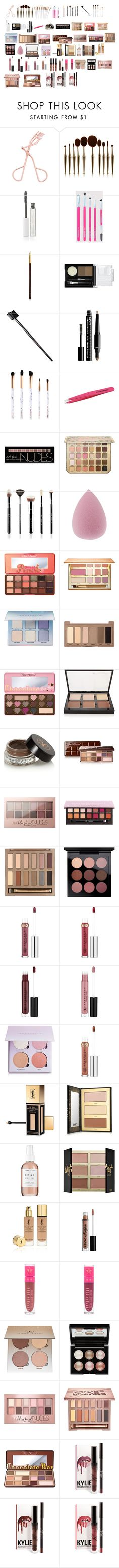 """""""Top favorite makeup"""" by babyceeee ❤ liked on Polyvore featuring beauty, BBrowBar, Tom Ford, NYX, Glamour Status, Tweezerman, Charlotte Russe, Sigma, Too Faced Cosmetics and tarte"""