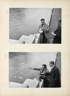 Yves Klein issues a receipt for the Immaterial to Dino Buzzati and releasing Zones of Immaterial Pictorial Sensibility into the Seine. Paris, 1962.