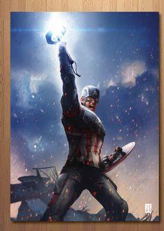 Captain America, Avengers: End Game by Jackson Caspersz Marvel Avengers, Marvel Captain America, Marvel Dc Comics, Capitan America Marvel, Marvel Fanart, Marvel Heroes, Robert Evans, Chris Evans, Marvel Characters