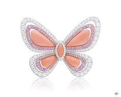 Les Ateliers Creations by Van Cleef & Arpels -Sweet Butterfly clip, High Jewelry Papillons collection-White gold, round diamonds, pink gold, round pink sapphires and pink coral.The Sweet Butterfly clip from the High Jewelry Papillons collection pays ...
