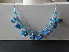 Homemade necklace / ladies jewelry / fresh blue wire wrapped JHFWBeadsAndFindings