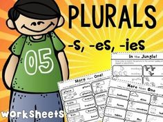 Plural Worksheets which cover endings -s, -es, -ies.Common core aligned to CCSS.ELA-LITERACY.L.K.1.CForm regular plural nouns orally by adding /s/ or /es/ (e.g., dog, dogs; wish, wishes).Great for review, homework, morning work and as independent work too.Contents:Nouns posters 420 variety worksheets (match, fill-in-blanks, and more!)Answer Sheets***Please see the animated GIF to know what you'll be purchasing!Thank you for stopping by!