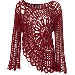 Red Crochet Bell Sleeve Top
