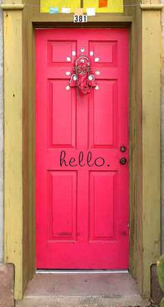 Front Door Wall Decal-hello. for your front door - Vinyl Wall Saying, Shabby Chic, Home Decor, Cute Wall Art by CherryChipCafe on Etsy https://www.etsy.com/listing/105438195/front-door-wall-decal-hello-for-your