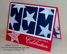 "By Linda. She used the Stampin' Up ""Simply Stars"" stamp set, stamped in white ink on dark blue cardstock, & heat embossed. Then she cut the cardstock into thirds, matted it, and adhered the mat to a red card base. She added a star stamped on red and the sentiment. (If you don't have this stamp set, you could use the kissing technique with a plain star stamp & a background stamp.)"