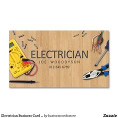 Shop Electrician Business Card Electrical Tools created by businesscardsstore. Electrician Logo, Electrician Gifts, Lawn Care Business Cards, Business Cards Layout, Visiting Card Design, Welding And Fabrication, Name Card Design, Create Your Own Business, Electrical Tools